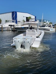 Intrepid boat with OXE diesel outboard